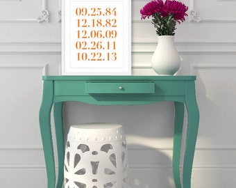 Simple Numbers Art Print - Personalized Family Special Dates - Important Dates - Numbers Poster - Modern Wall Art - Tangerine Orange