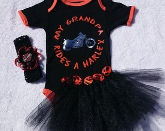 HARLEY DAVIDSON - My Grandpa Rides a Harley - 4 Piece Tutu Set - 3/6 9/12 or 18 Months - Orange