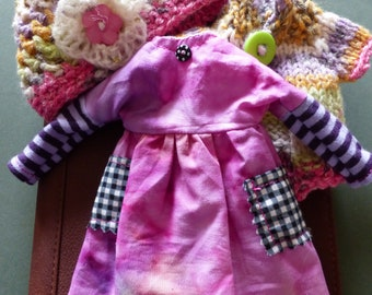 Blythe Mori Girl Set, Pink Crush, Dress, Cardigan And Crocheted Hat