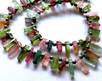 Amazing multi --tourmaline rocks , sticks , rough ,,2x6 mm - 2x12 mm , 10 inch strand approx ( sr no , 2308 )