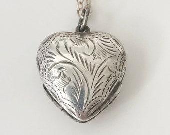 Heart Shaped Locket Sterling Silver Vintage Locket Necklace Heart Clover Photo Locket