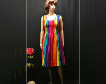 Rainbow Woman Summer Dress, Sleeveless Smock Sundress, Gay Color,  Gay Festival Dress, Gay Pride, Capital Pride, LGBT