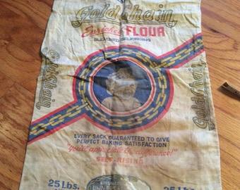 Antique Gold Chain Cotton Flour Sack Baby Self-Rising Vintage