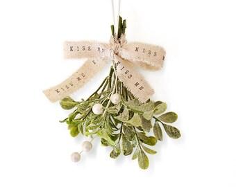Shabby Chic Christmas Mistletoe . kiss . glitter mistletoe . white Christmas decor . hostess gift . stocking stuffer . unique gift