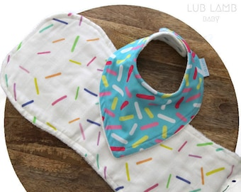 Bib and burp cloth gift set, Candy sprinkles baby gift, Blue doughnut/donut theme baby gift