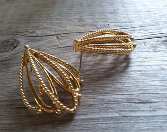 Gold Tiered Hoop Earrings-Vintage Tiered Earring-Vintage Layered Gold Hoop-Detailed Gold Hoop-Free Shipping