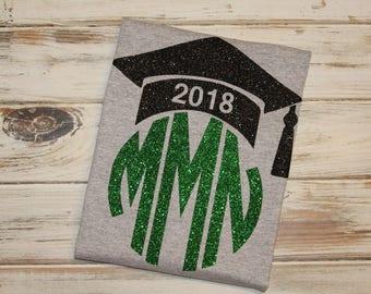 Graduate monogrammed shirt- Graduation shirt- Senior year shirt- Class of 2017 shirt- Senior year monogram- Graduation 2017- Senior class