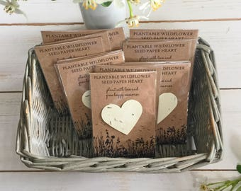 10 Seed Paper Heart Favours, Plantable Paper, Wildflowers - Wedding, Funeral Favour