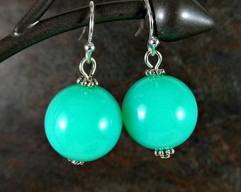 Gumball Earrings, Round Bead Earrings, Mint, Chunky Earrings, Drop Earrings, Dangle Earrings, Silver, Green Earrings, Ball Earrings, Acrylic