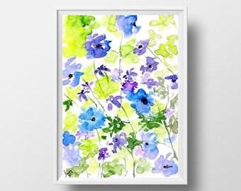 Wild Flowers watercolor painting Indigo blue lemon green wall art print large 24x36 wall art home decor floral poster boho spring decoration