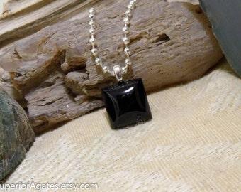 Black Agate Sqaure Gemstone Pendant Small, Dainty, Teachers, Friends, Birthdays, Kids, Teens