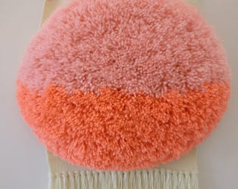 Woven wall hanging, Peach and apricot round shag weaving, wall art, woven wall tapestry.