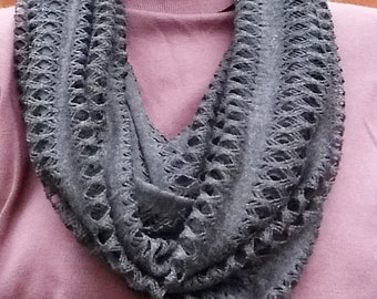 Infinity Scarf, Open Weave Dark Gray Accessory, Gift for Her, READY TO SHIP Today