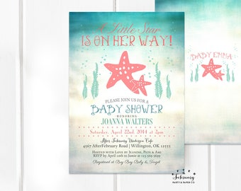 Starfish Baby Shower Invitation, Under the Sea Baby Shower Invitation, Sea Creature Baby Shower Invitations Printable OR Printed No.933BABY