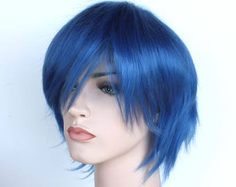 Blue short wig. Synthetic color wig high quality. made to order.