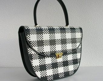 Vintage navy leather handbag