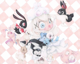 magical girl pop surrealism bunny alice wonderland sanrio pokemon anime manga art print