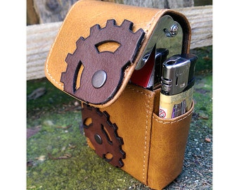 Steampunk Leather-Cigarette Box-Business Card Case Holder #3 - Steampunk Leather Brown