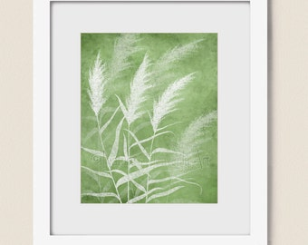 Nature Art Print for Home or Office, 8 x 10 Dining Room Wall Art, Green Wall Decor, Wind Blowing Grass  (292)