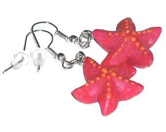 Starfish Pink-1 pair of earrings-Carnival children's gift jewelry fashion Jewelry