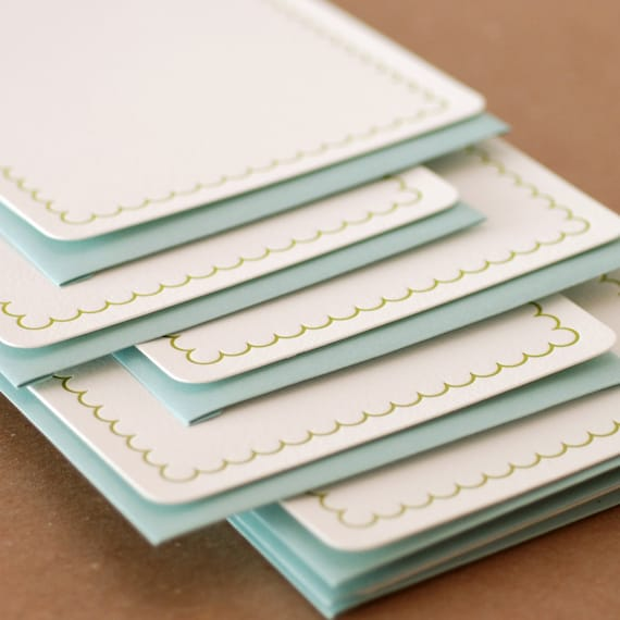 Letterpress Stationery : Edamame Simple Scallop Notes, box set of 5 medium flat cards w pool blue colored envelopes