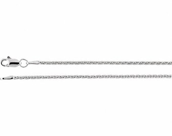 14K White Gold Wheat Chain, 18 inches Long 1.5 mm  - CH971WG