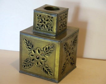 Vintage Signed Gene Byron Mexico Gold Toned Tin Weighted Square Candle Holder