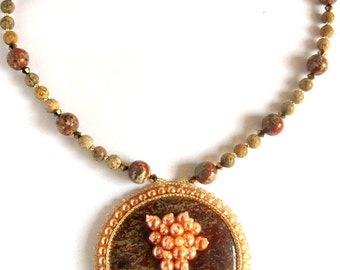 Bead Embroidered Pendant Necklace, Bead Embroidery Statement Necklace, Chunky Pendant, Seed Beads and Gemstones  Leopard Jasper Necklace