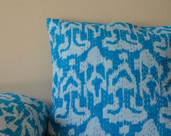 Turquoise Ikat Kantha Cushion Cover - On Sale
