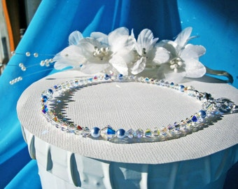 Something Blue Anklet Swarovski Crystal Wedding Jewelry Ankle Bracelet