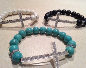 Beaded sideways cross bracelet handmade side cross Inexpensive Cheap gift idea Mother's Day Gift inexpensive ONE DOLLAR shipping