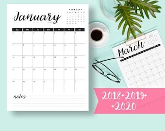 Calendar 2018 PRINTABLE Calendar Monthly Pages Printable Wall Planner 2018 Calendar Download PDF Printable Desk Calendar 2018 Calendar Desk