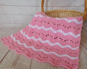 crochet baby blanket - pink baby blanket - pink baby bedding - baby girl nursery decor - baby shower gift