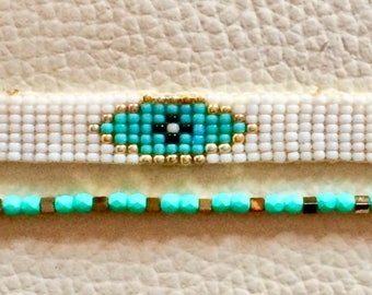 duo set made with woven beads and Crystal woven bracelet
