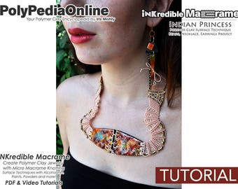 SALE Macrame Jewelry, Polymer Clay Jewelry, Necklace Pattern, Knotted Necklace, Bead Tutorial, PDF Jewelry Tutorial, Macrame Pattern, How To