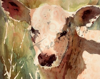 Cows Cow Print calf  art watercolor print of painting white calf green and pink by Kris Trembley
