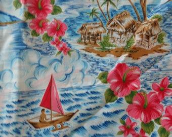VINTAGE 1980's Hawaiian Theme Fabric - available