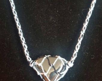 Thread and stone (hematite) necklace