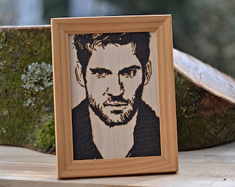 Your wish portrait on wood burning painting Pyrography