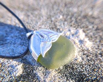Sea Glass Whale tale Sterling Silver Aromatherapy Necklace