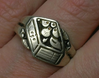 Antique Chinese Silver Ring, Fruit, Floral Motifs, Chinese Marks, Export, Size 5 (adjustable)