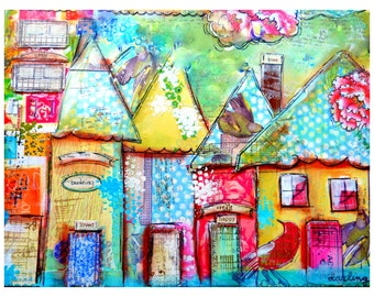Art Print of Houses, Art to Frame, Inexpensive Art Idea, Gifts for Mom, Art for Kids Rooms ,Kiss