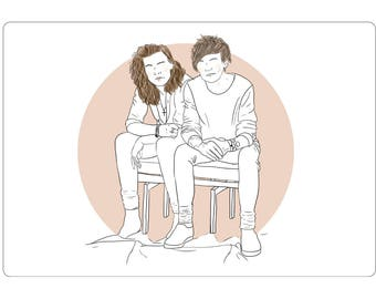 Better Together Sticker One Direction Harry Styles Louis Tomlinson Larry Stylinson Art Illustration Stationery Drawing Line Art Fan Art