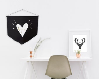 Wall flag, Black Banner flag, Yes,  Gold White Vinyl Print, Gift for her, Motivational design, Typographic design