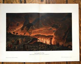 1900 MT. VESUVIUS VOLCANO erupting - original antique print of mount vesuvius italy - lave magma color lithograph