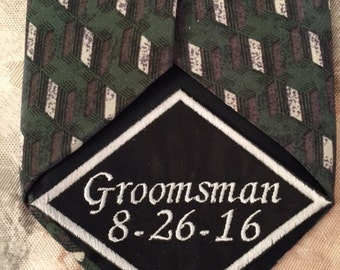 Wedding Tie Patch, Groomsman Tie Patch, Tie Patch, Wedding Tie Patch, Embroidered Tie, Personalized Tie Patch, Wedding gift