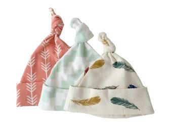 Baby gift under 25, baby knot caps, newborn baby gift, 3 organic knot hats, newborn hats, knotted hats, boho baby gift, baby knot cap,