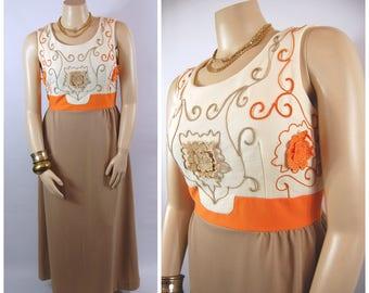 1970s Orange and Brown Maxi // 34 Waist //  70s Volup XL Autumn Earth Tones Soutache Banded Waist Sleeveless Scoop neck