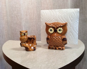 Adorable Vintage Lego Ceramic Owl Napkin Holder and Toothpick Holder with Daisy Eyes, Vintage Owl Kitchen Dining Items