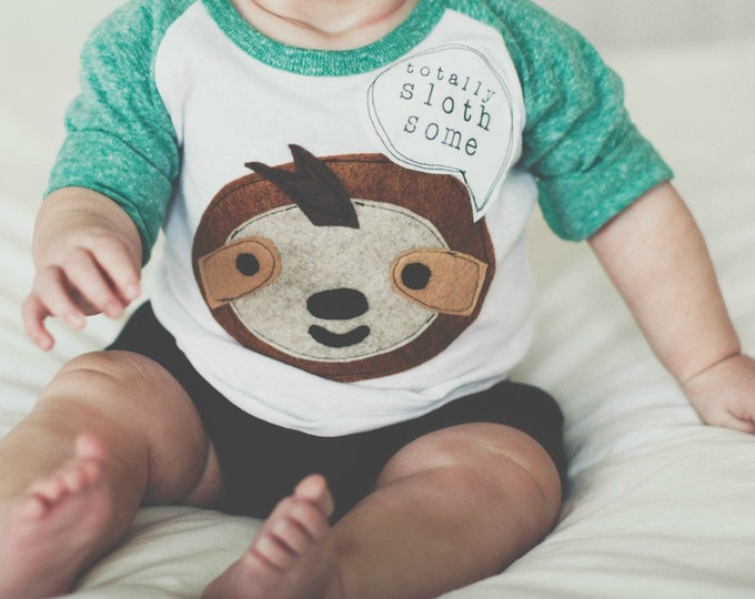 "Swanky Shank Gender Neutral Baseball tee ""Totally Sloth-Some"""